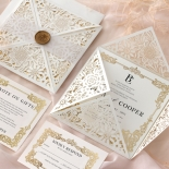 Blooming Charm Foil and Black Ink - Wedding Invitations - BW520-WH-PFL - 185264