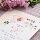 Floral Triplex Invitation with Gold Foil - Wedding Invitations - WP306GG - 183801