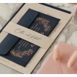 Chic Navy and Rosy Blush Foil - Wedding Invitations - WP-CR07-BR - 184239