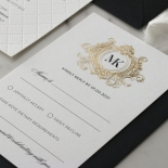 Pre Foiled Quilted Crest - Wedding Invitations - PM-IC330-PLP-BL-02 - 185065