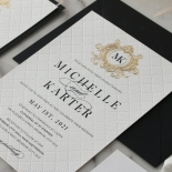Pre Foiled Quilted Crest - Wedding Invitations - PM-IC330-PLP-BL-02 - 185066