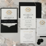 Pre Foiled Quilted Crest - Wedding Invitations - PM-IC330-PLP-BL-02 - 185067