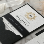 Pre Foiled Quilted Crest - Wedding Invitations - PM-IC330-PLP-BL-02 - 185068