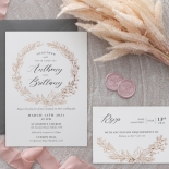 Pre Foiled Ivory Floral Wreath - Wedding Invitations - PM-KI300-PFL-B-02 - 184723