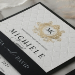 Pre Foiled Quilted Crest - Wedding Invitations - PM-IC330-PLP-BL-02 - 185069