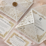 Blooming Charm Foil and Black Ink - Wedding Invitations - BW520-WH-PFL - 185267
