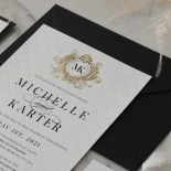 Pre Foiled Quilted Crest - Wedding Invitations - PM-IC330-PLP-BL-02 - 185070