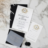 Pre Foiled Quilted Crest - Wedding Invitations - PM-IC330-PLP-BL-02 - 184728