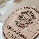 Imprinted Regal Crest wedding save the date stationery card item