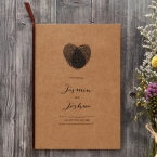 Organic brown craft paper, raised ink printing in black, with heart shaped fingerprint monogram center