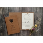 White card inserted in a brown craft invite, tied with a brown satin lace and a heart shaped front logo made with crossed fingerprints