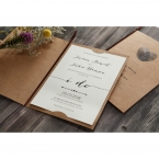 Lightly textured printed in high rise fonts, tucked in a brown card, with a satin lace on the center