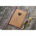 Front part of a craft card invite with a heart shaped center, bound by a brown satin lace