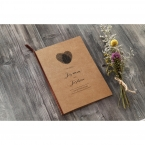 Brown craft card stock digitally printed in black ink, tied with brown lace, monogram made by fingerprints in a heart shape