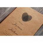 Black raised ink printed on a craft card, fingerprints forming a heart shape, brown satin lace tied on the side