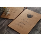 Brown craft card printed in black high rise fonts, with a heart shaped logo made of fingerprints