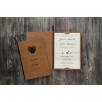 Lightly textured white card stock tucked in a brown craft card, printed in high rise fonts