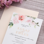 Floral Triplex Invitation with Gold Foil - Wedding Invitations - WP306GG - 183802