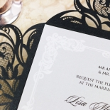 Black Divine Damask Wedding Invitation