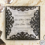 Black Divine Damask Wedding Invite