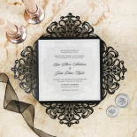 Black Divine Damask Invitation Card