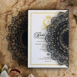 Black Doily Elegance Invitation Card Design