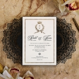 Black Doily Elegance with Foil Wedding Card Design