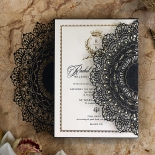 Black Doily Elegance with Foil Wedding Invite Card Design