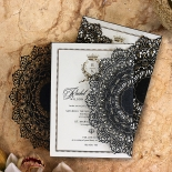 Black Doily Elegance with Foil Invitation