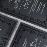 Black on Black Victorian Luxe Wedding Invite Card