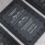Black on Black Victorian Luxe Wedding Invite