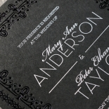 Black on Black Victorian Luxe Wedding Card
