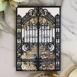 Black Victorian Gates Wedding Card Design