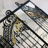 Black Victorian Gates Wedding Invite Card Design