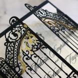 Black Victorian Gates Wedding Invite Card Design