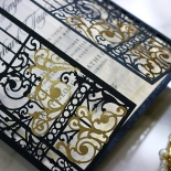 Black Victorian Gates Wedding Invite Design