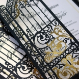 Black Victorian Gates Invitation Card Design