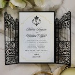 Black Victorian Gates Wedding Invitation Design