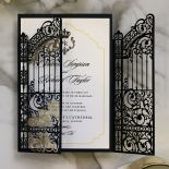 Black Victorian Gates Wedding Invitation Card Design
