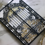 Black Victorian Gates with Foil Invite Card Design