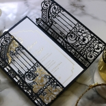 Black Victorian Gates with Foil Invite Card