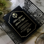 Black Victorian Gates with Foil Invitation Card