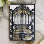 Black Victorian Gates with Foil Wedding Invitation Card Design