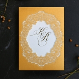 Charming Lace Frame with Foil Invite Design