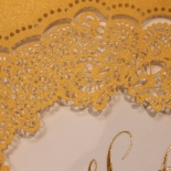 Charming Lace Frame with Foil Wedding Card Design