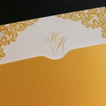 Charming Lace Frame with Foil Wedding Invitation Design