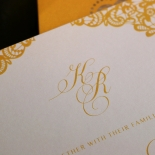 Charming Lace Frame with Foil Wedding Invitation Card Design