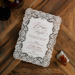 Floral Lace with Foil Invitation Card