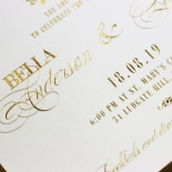 Gold Foil Baroque Gates Wedding Card Design