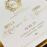 Gold Foil Baroque Gates Wedding Invite Card Design